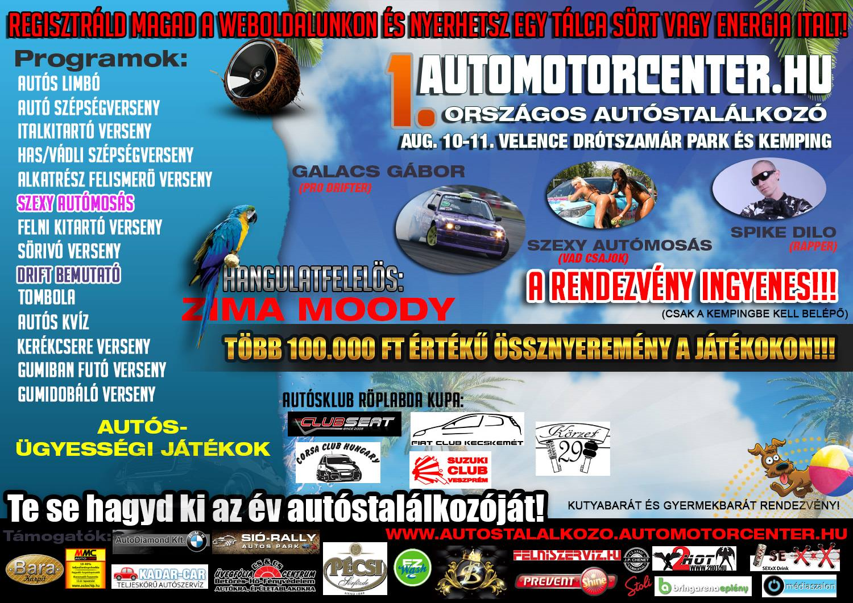 Augusztus 10-11-én megrendezésre kerül az I. AutoMotorCenter.hu Autóstalálkozó!